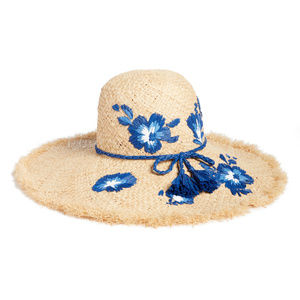 NWT Kate Spade embroidered hibiscus straw sun hat